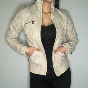 GUESS cream jacket w high collar and zip detail